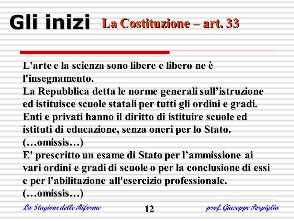 Gli inizi La Costituzione – art. 33