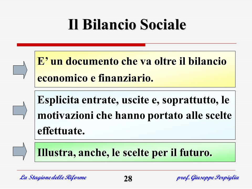 Il Bilancio Sociale E' un documento che va oltre il bilancio economico e finanziario.