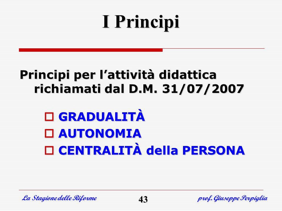 I Principi Principi per l'attività didattica richiamati dal D.M. 31/07/2007. GRADUALITÀ. AUTONOMIA.