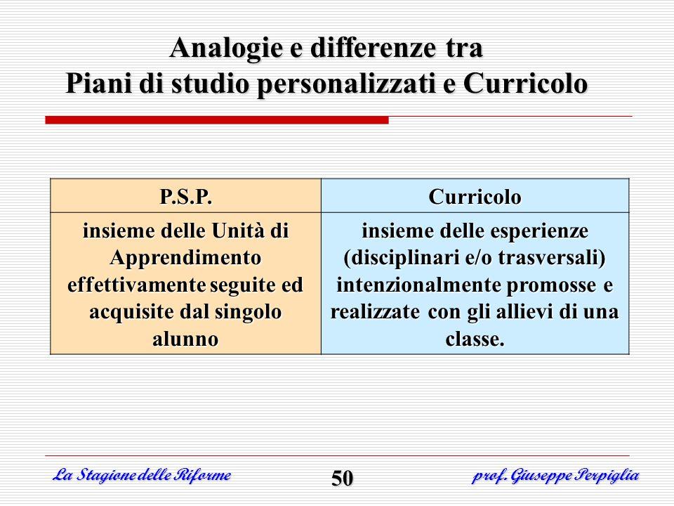 Analogie e differenze tra Piani di studio personalizzati e Curricolo