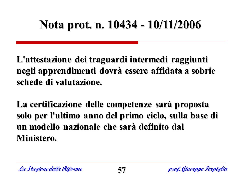 Nota prot. n. 10434 - 10/11/2006