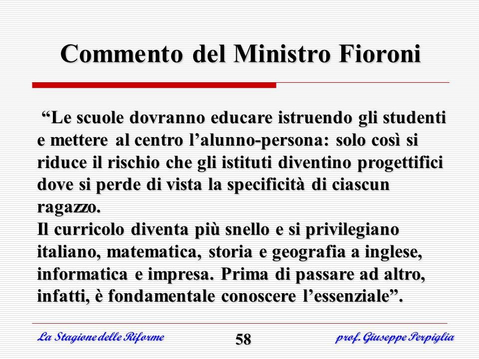 Commento del Ministro Fioroni