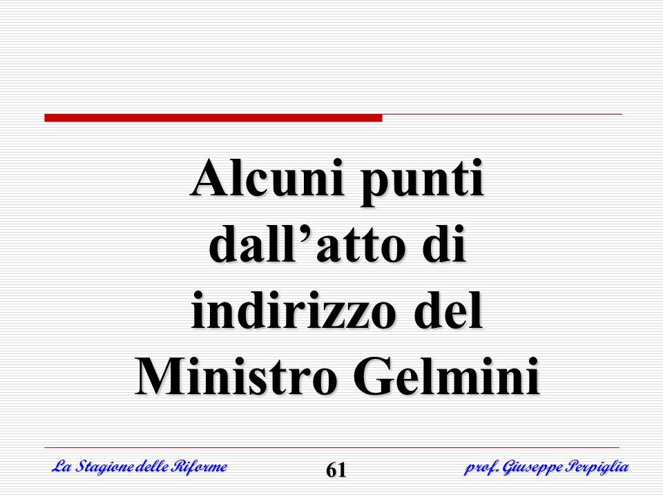 Alcuni punti dall'atto di indirizzo del Ministro Gelmini