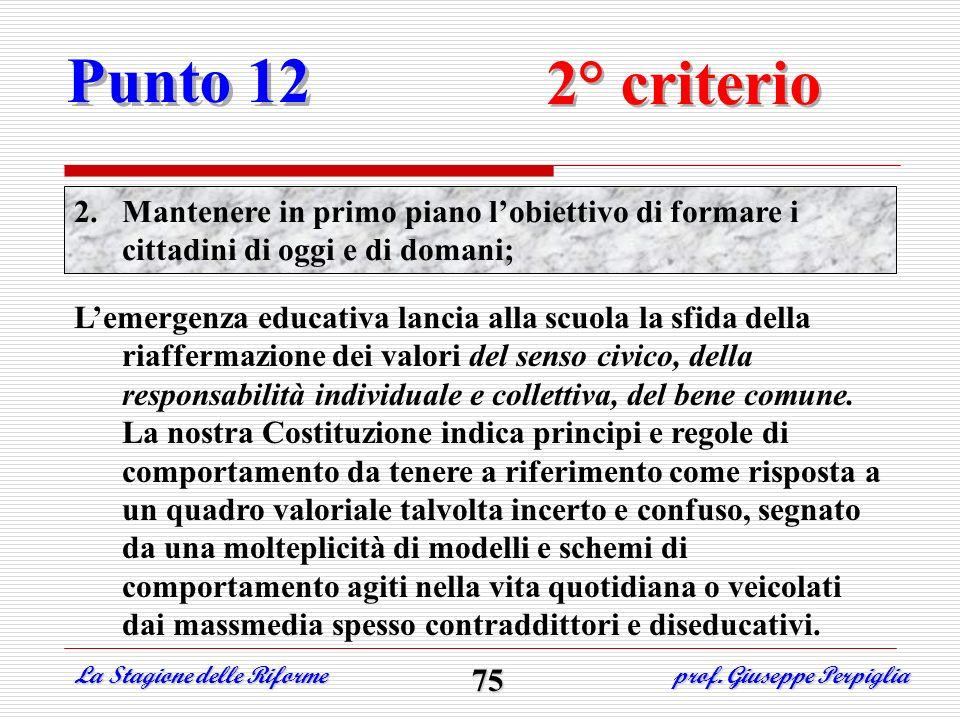 Punto 12 2° criterio. Mantenere in primo piano l'obiettivo di formare i cittadini di oggi e di domani;