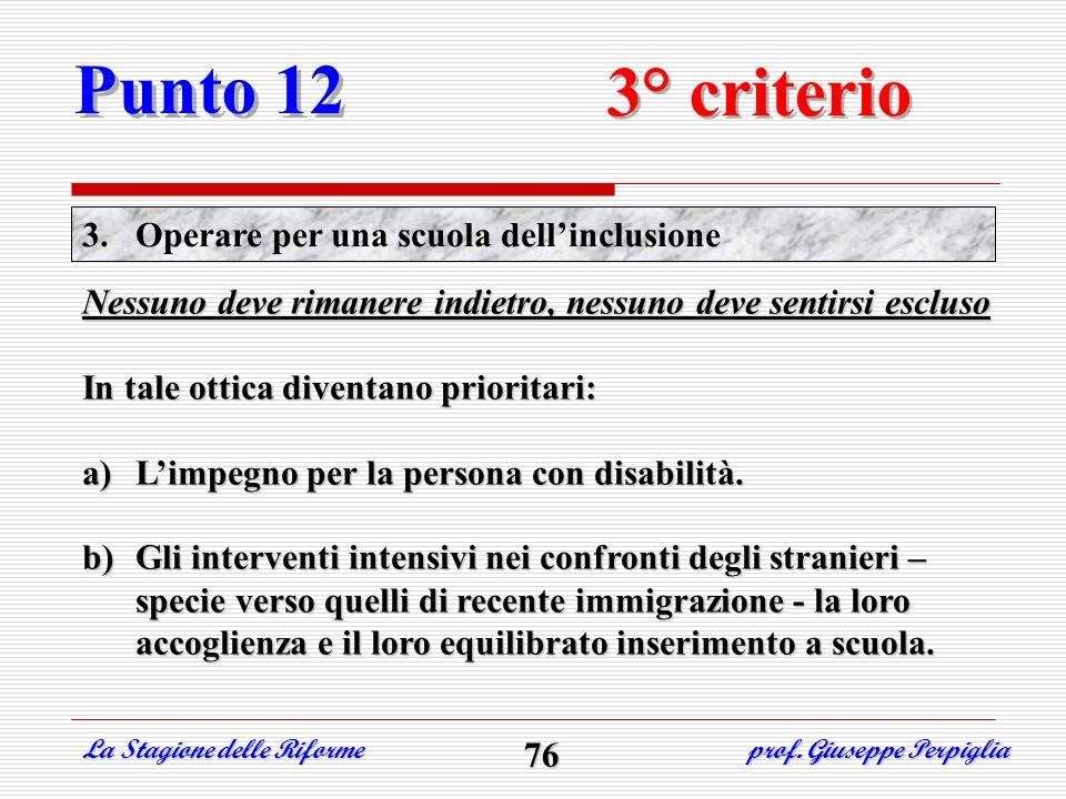 Punto 12 3° criterio Operare per una scuola dell'inclusione
