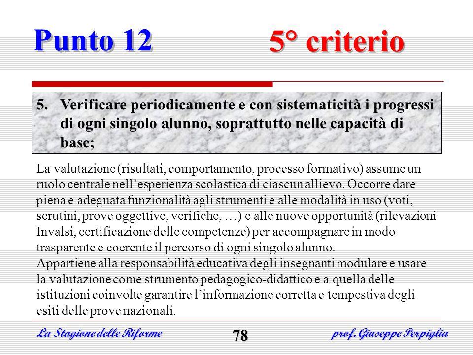 Punto 12 5° criterio. Verificare periodicamente e con sistematicità i progressi di ogni singolo alunno, soprattutto nelle capacità di base;