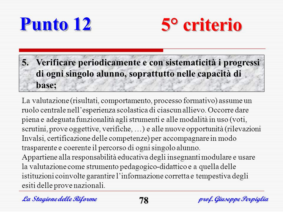 Punto 125° criterio. Verificare periodicamente e con sistematicità i progressi di ogni singolo alunno, soprattutto nelle capacità di base;