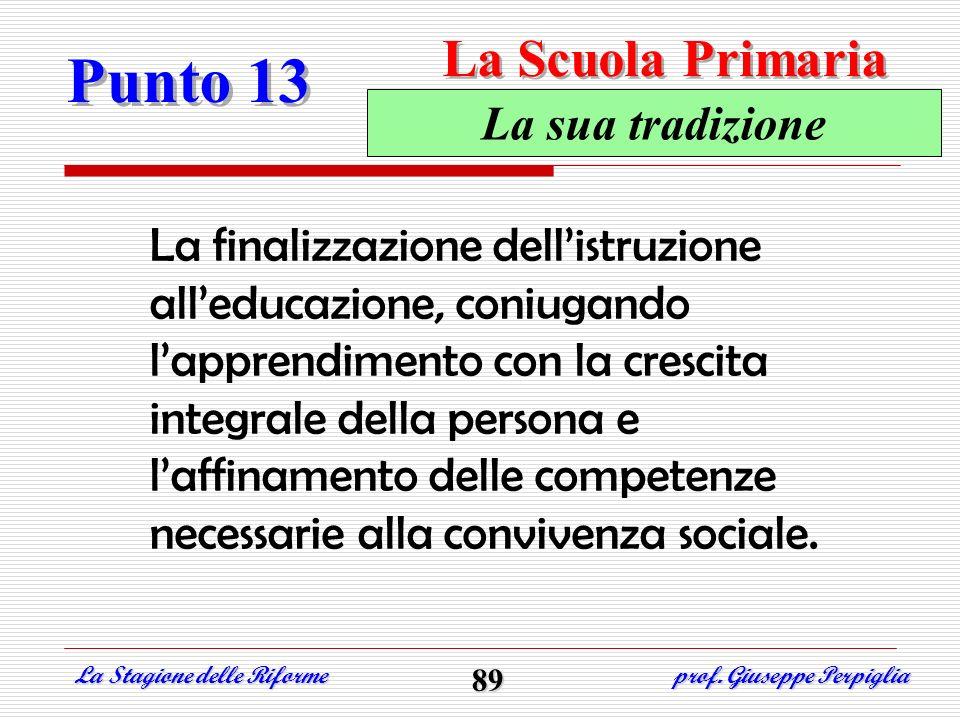 Punto 13 La Scuola Primaria La sua tradizione