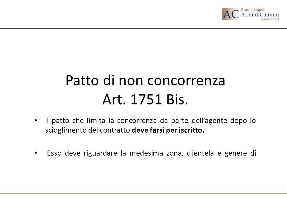 Patto di non concorrenza Art. 1751 Bis.