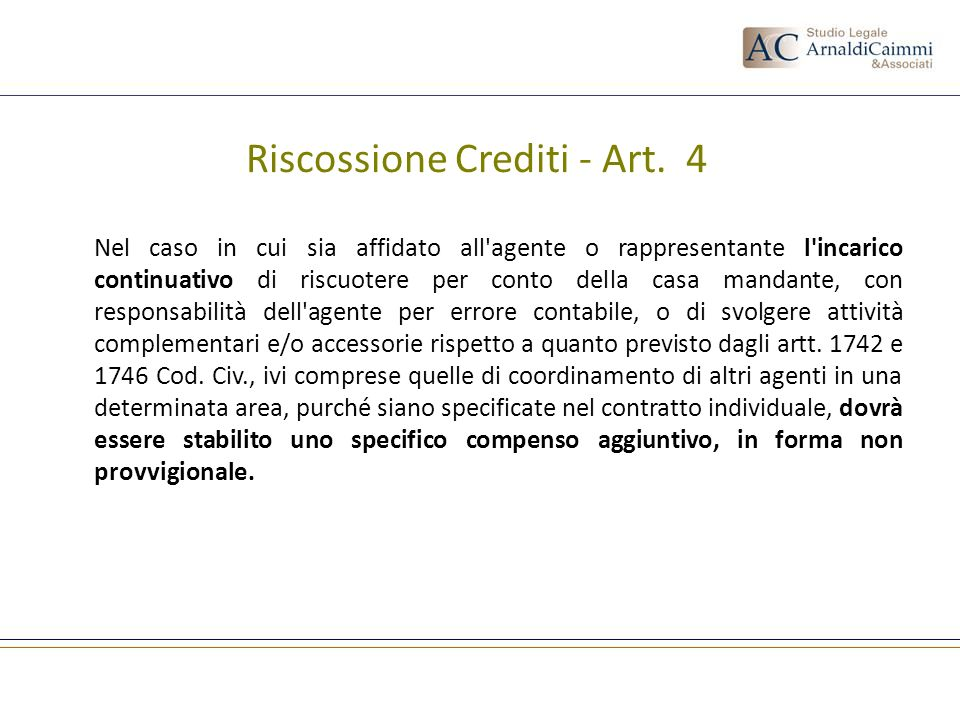 Riscossione Crediti - Art. 4