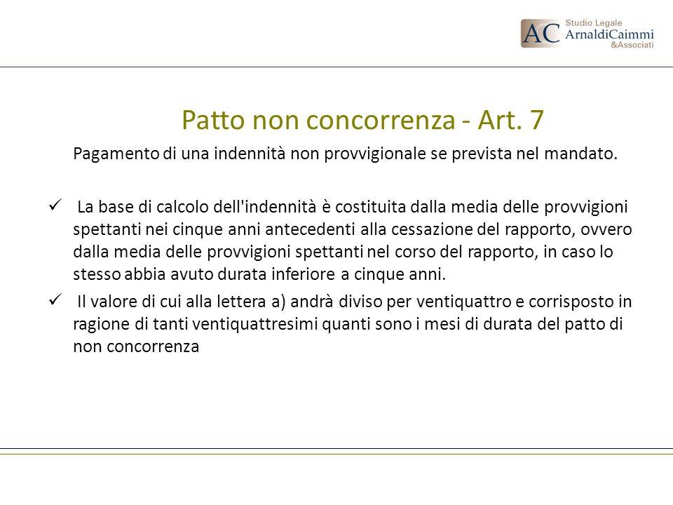 Patto non concorrenza - Art. 7
