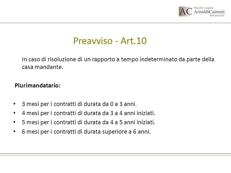 Preavviso - Art.10 In caso di risoluzione di un rapporto a tempo indeterminato da parte della casa mandante.