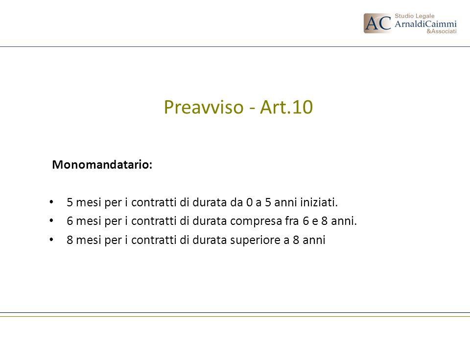 Preavviso - Art.10 Monomandatario: