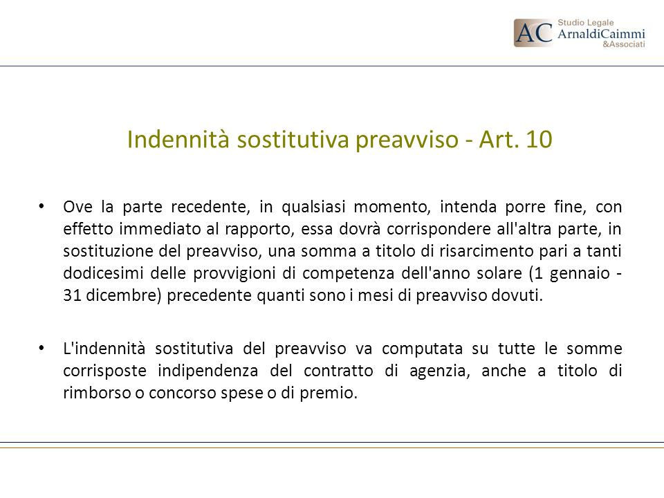 Indennità sostitutiva preavviso - Art. 10