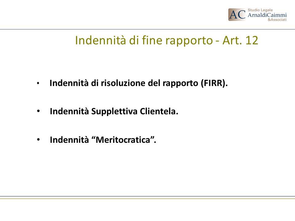 Indennità di fine rapporto - Art. 12