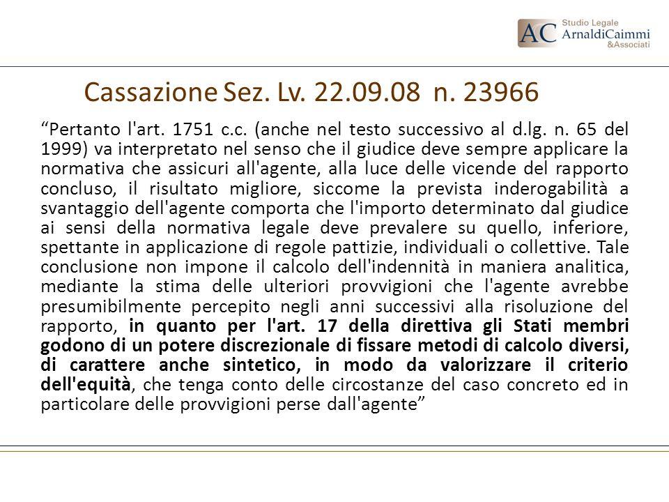 Cassazione Sez. Lv. 22.09.08 n. 23966