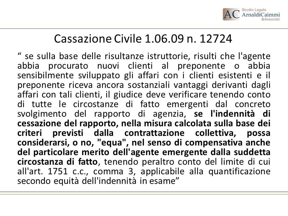 Cassazione Civile 1.06.09 n. 12724