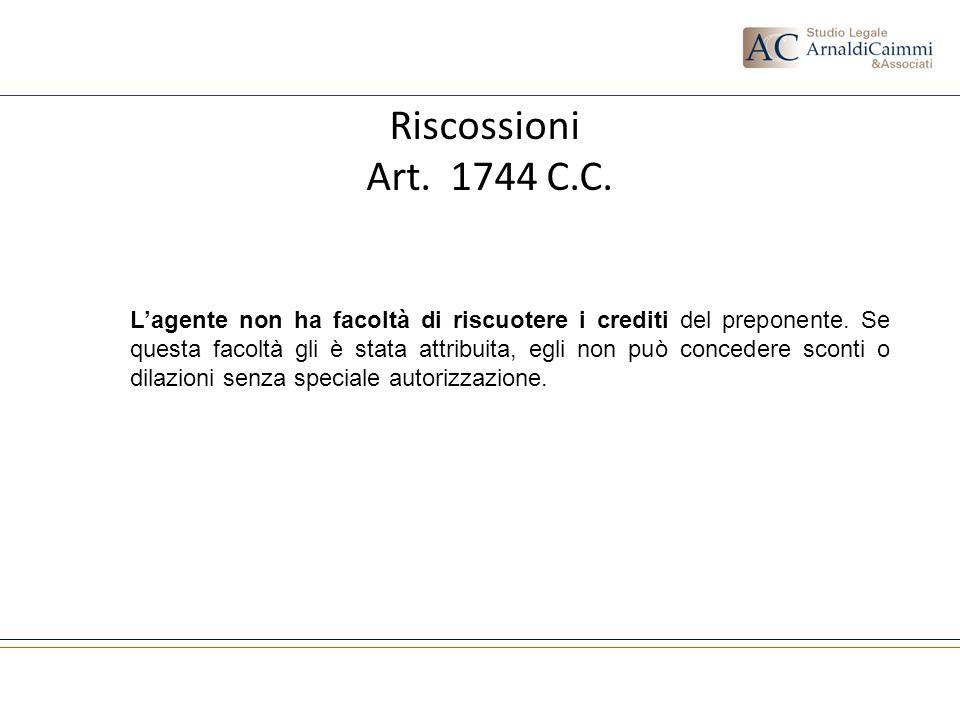 Riscossioni Art. 1744 C.C.