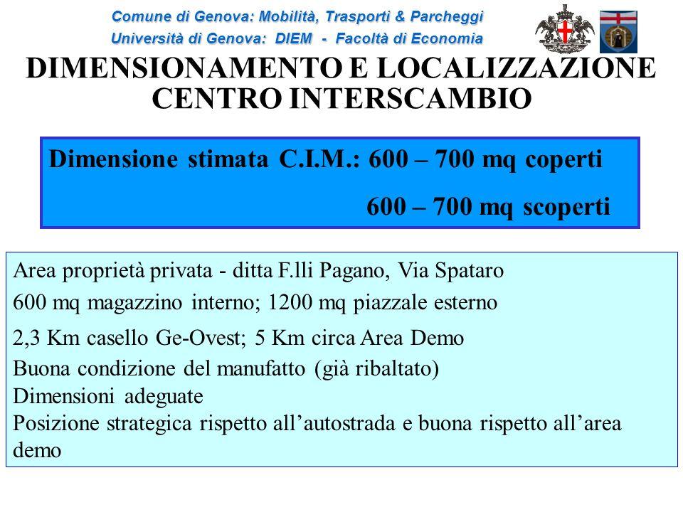 DIMENSIONAMENTO E LOCALIZZAZIONE CENTRO INTERSCAMBIO