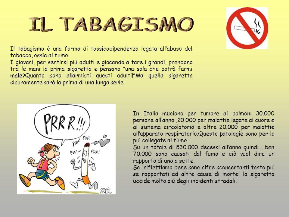 IL TABAGISMO Il tabagismo è una forma di tossicodipendenza legata all'abuso del tabacco, ossia al fumo.