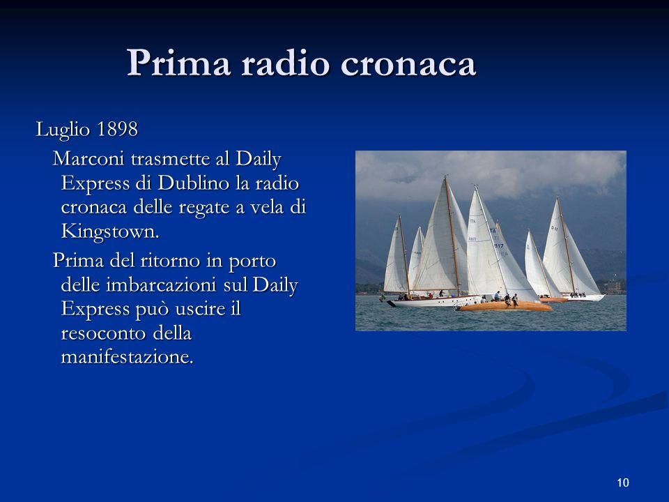 Prima radio cronaca Luglio 1898
