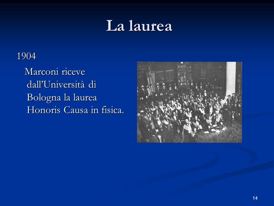 La laurea 1904 Marconi riceve dall'Università di Bologna la laurea Honoris Causa in fisica.