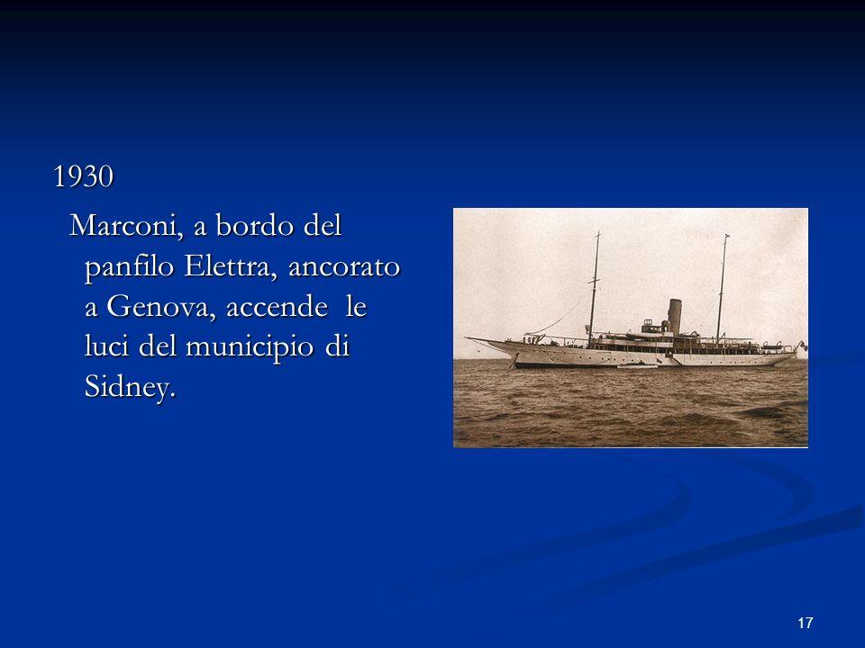 1930Marconi, a bordo del panfilo Elettra, ancorato a Genova, accende le luci del municipio di Sidney.