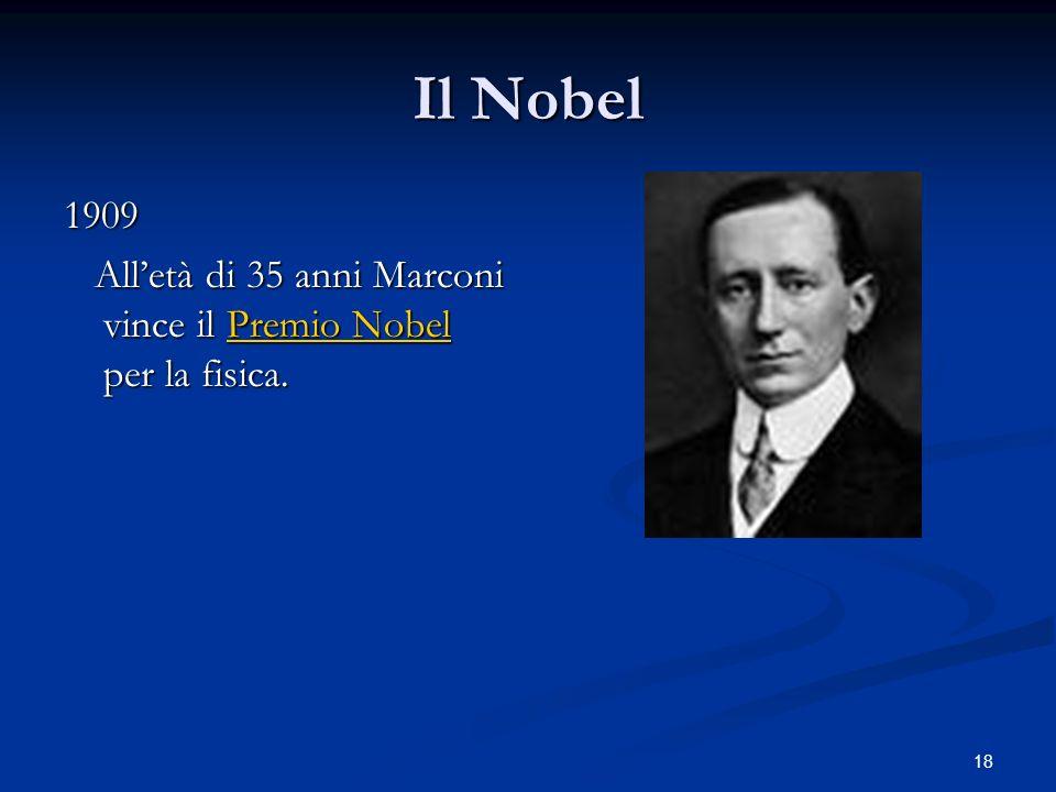 Il Nobel 1909 All'età di 35 anni Marconi vince il Premio Nobel per la fisica.