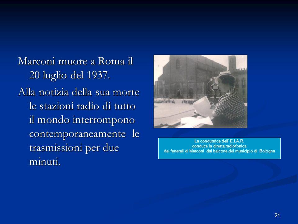 Marconi muore a Roma il 20 luglio del 1937.