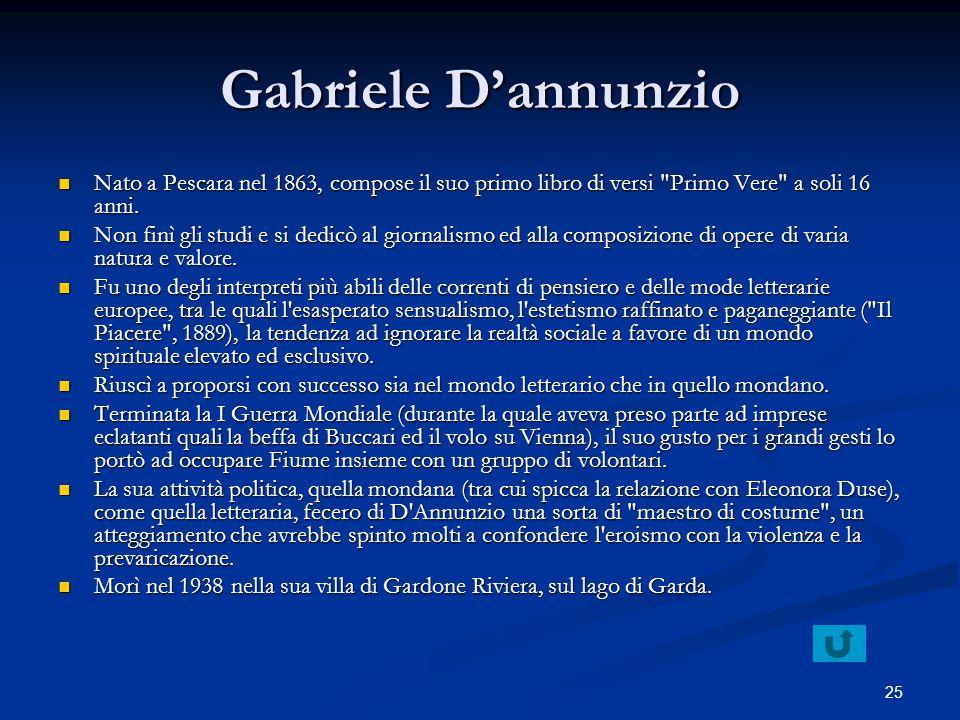 Gabriele D'annunzio Nato a Pescara nel 1863, compose il suo primo libro di versi Primo Vere a soli 16 anni.