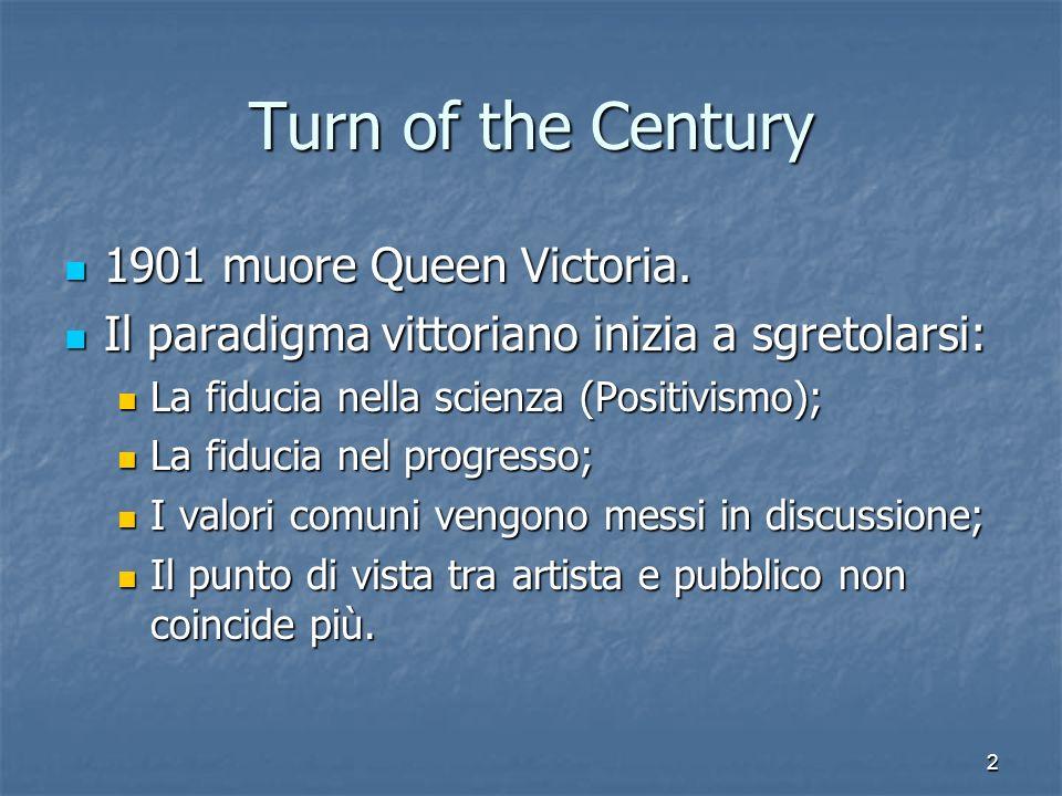 Turn of the Century 1901 muore Queen Victoria.