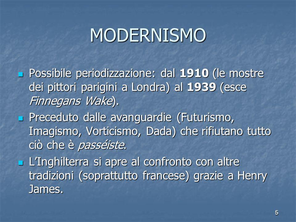 MODERNISMO Possibile periodizzazione: dal 1910 (le mostre dei pittori parigini a Londra) al 1939 (esce Finnegans Wake).