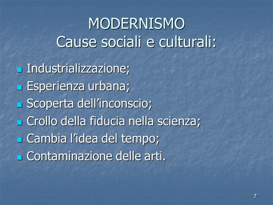 MODERNISMO Cause sociali e culturali: