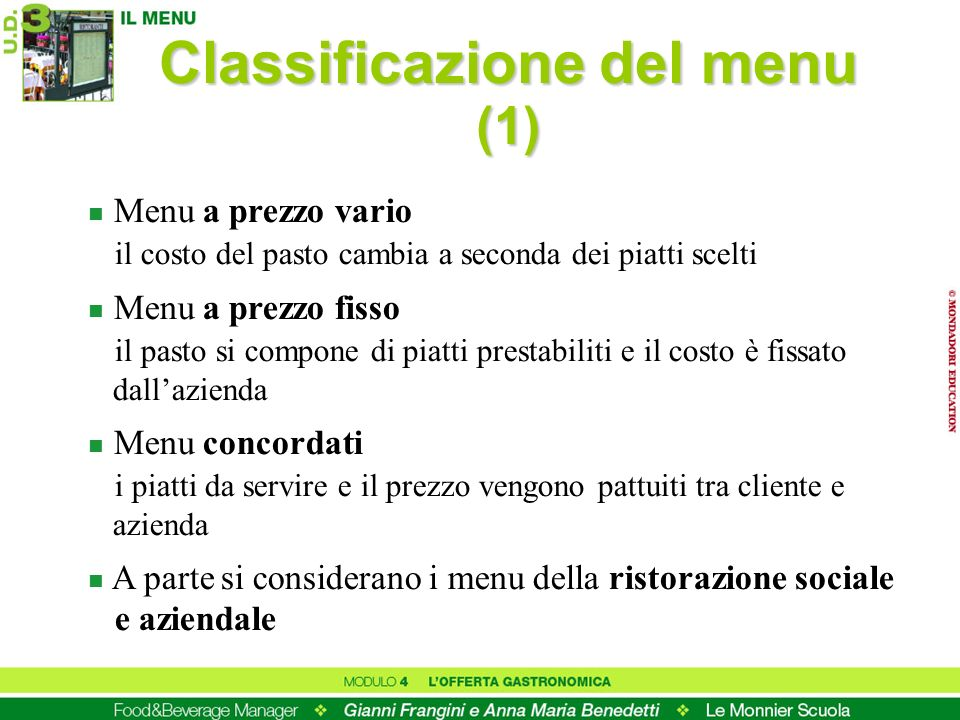 Classificazione del menu (1)