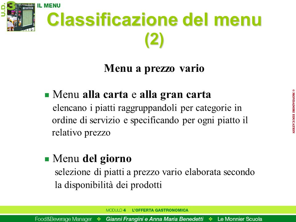 Classificazione del menu (2)