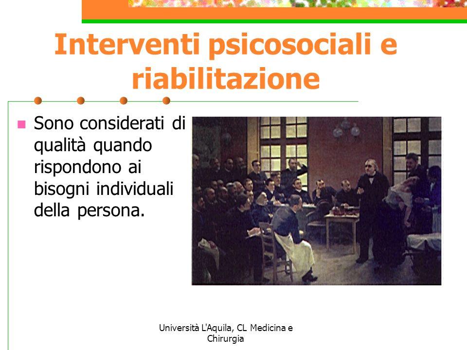 Interventi psicosociali e riabilitazione
