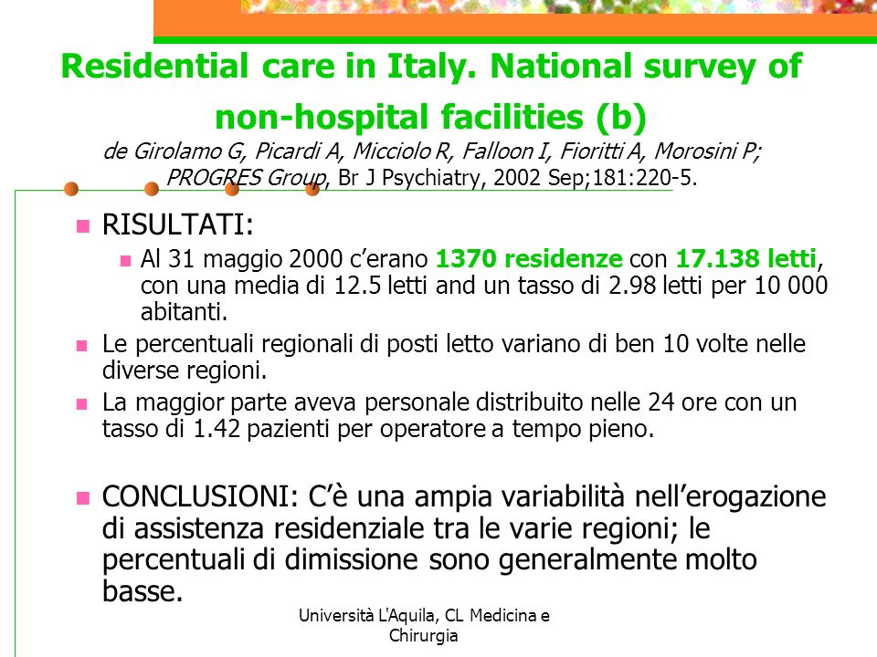 Università L Aquila, CL Medicina e Chirurgia