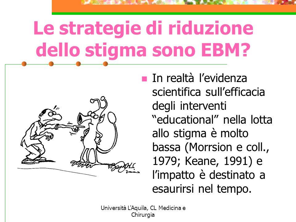 Le strategie di riduzione dello stigma sono EBM