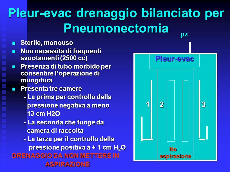Pleur-evac drenaggio bilanciato per Pneumonectomia