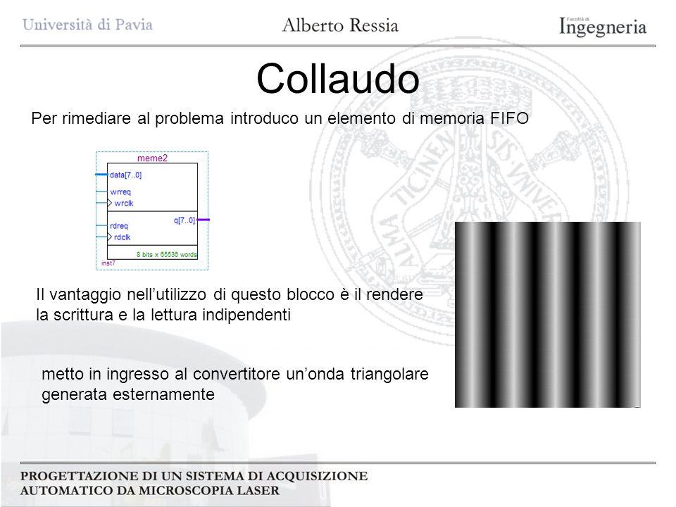 CollaudoPer rimediare al problema introduco un elemento di memoria FIFO. Il vantaggio nell'utilizzo di questo blocco è il rendere.