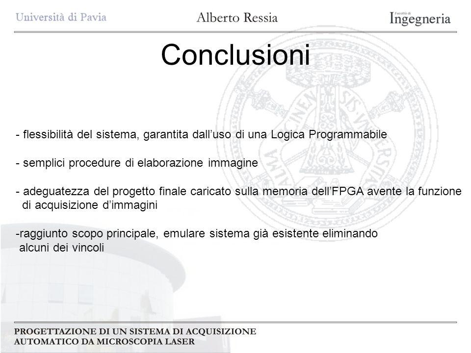 Conclusioni flessibilità del sistema, garantita dall'uso di una Logica Programmabile. semplici procedure di elaborazione immagine.