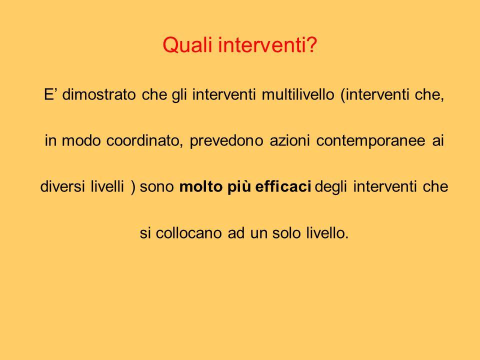 Quali interventi E' dimostrato che gli interventi multilivello (interventi che, in modo coordinato, prevedono azioni contemporanee ai.