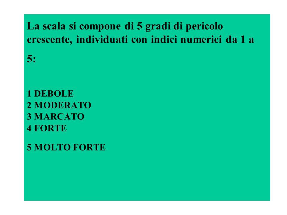 La scala si compone di 5 gradi di pericolo crescente, individuati con indici numerici da 1 a 5: 1 DEBOLE 2 MODERATO 3 MARCATO 4 FORTE 5 MOLTO FORTE