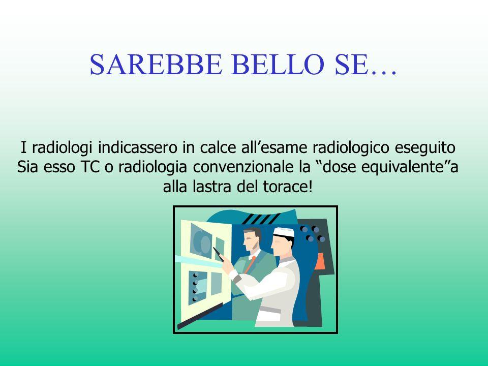 SAREBBE BELLO SE… I radiologi indicassero in calce all'esame radiologico eseguito. Sia esso TC o radiologia convenzionale la dose equivalente a.