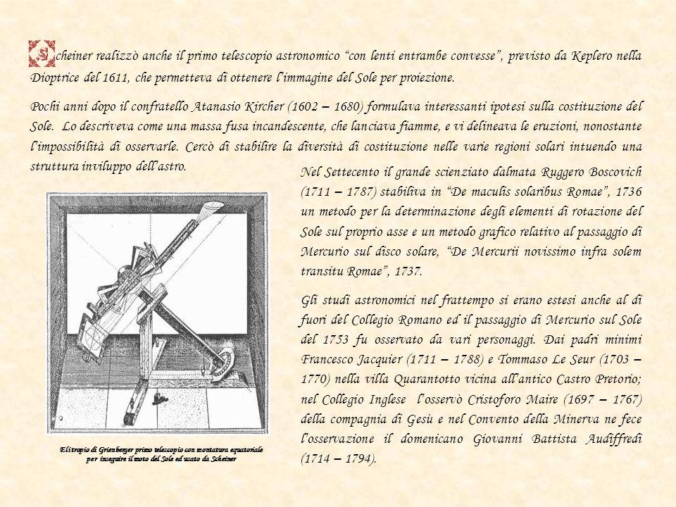 cheiner realizzò anche il primo telescopio astronomico con lenti entrambe convesse , previsto da Keplero nella Dioptrice del 1611, che permetteva di ottenere l'immagine del Sole per proiezione.