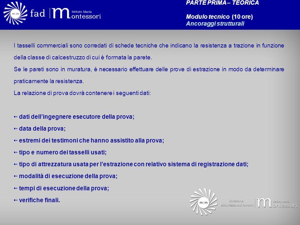 PARTE PRIMA – TEORICA Modulo tecnico (10 ore) Ancoraggi strutturali.