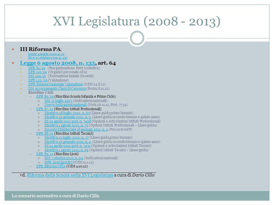 XVI Legislatura (2008 - 2013) III Riforma PA: