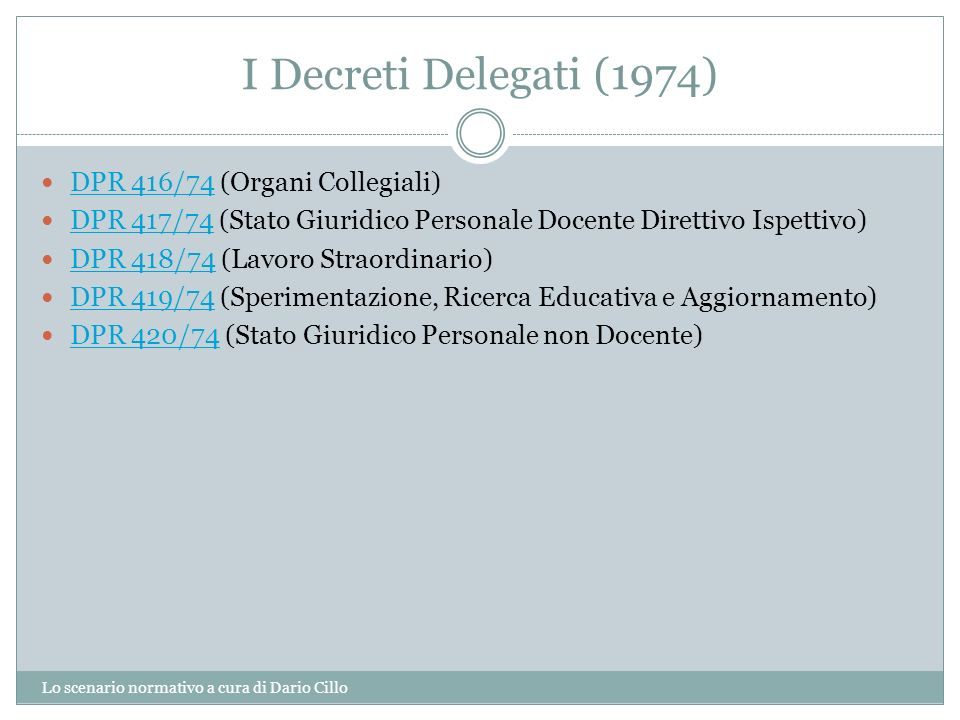 I Decreti Delegati (1974) DPR 416/74 (Organi Collegiali)