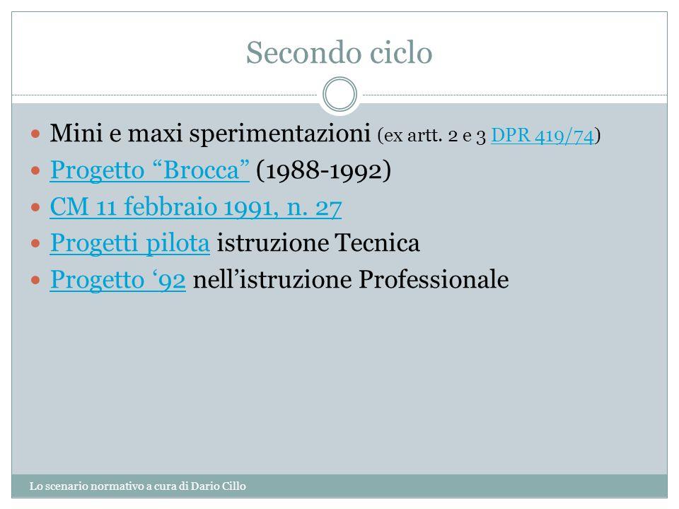 Secondo ciclo Mini e maxi sperimentazioni (ex artt. 2 e 3 DPR 419/74)