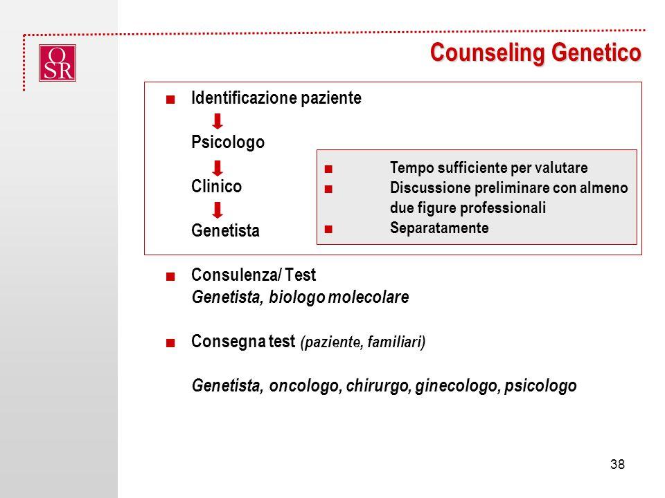 Counseling Genetico ■ Identificazione paziente Psicologo Clinico